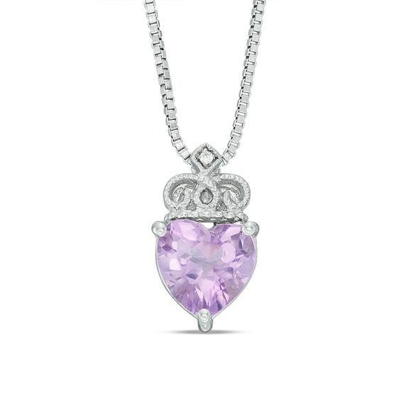 Zales Amethyst and Diamond Accent Pendant in Sterling Silver with Rose Rhodium H3Qyf4P1