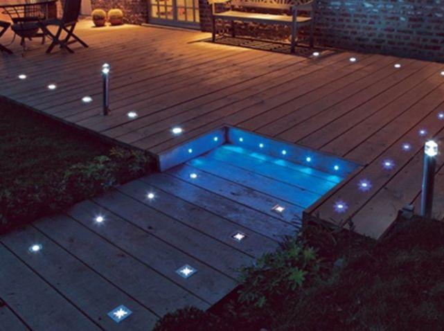 Eclairage terrasse sol piscine castorama