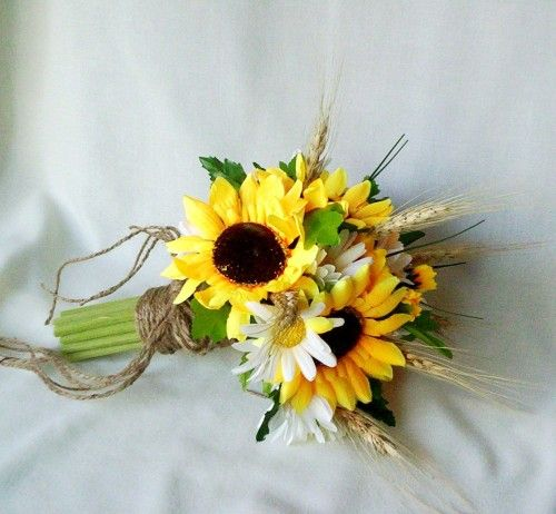 sunflower bouquet twine wrap fall weddings silk bridal bouquet