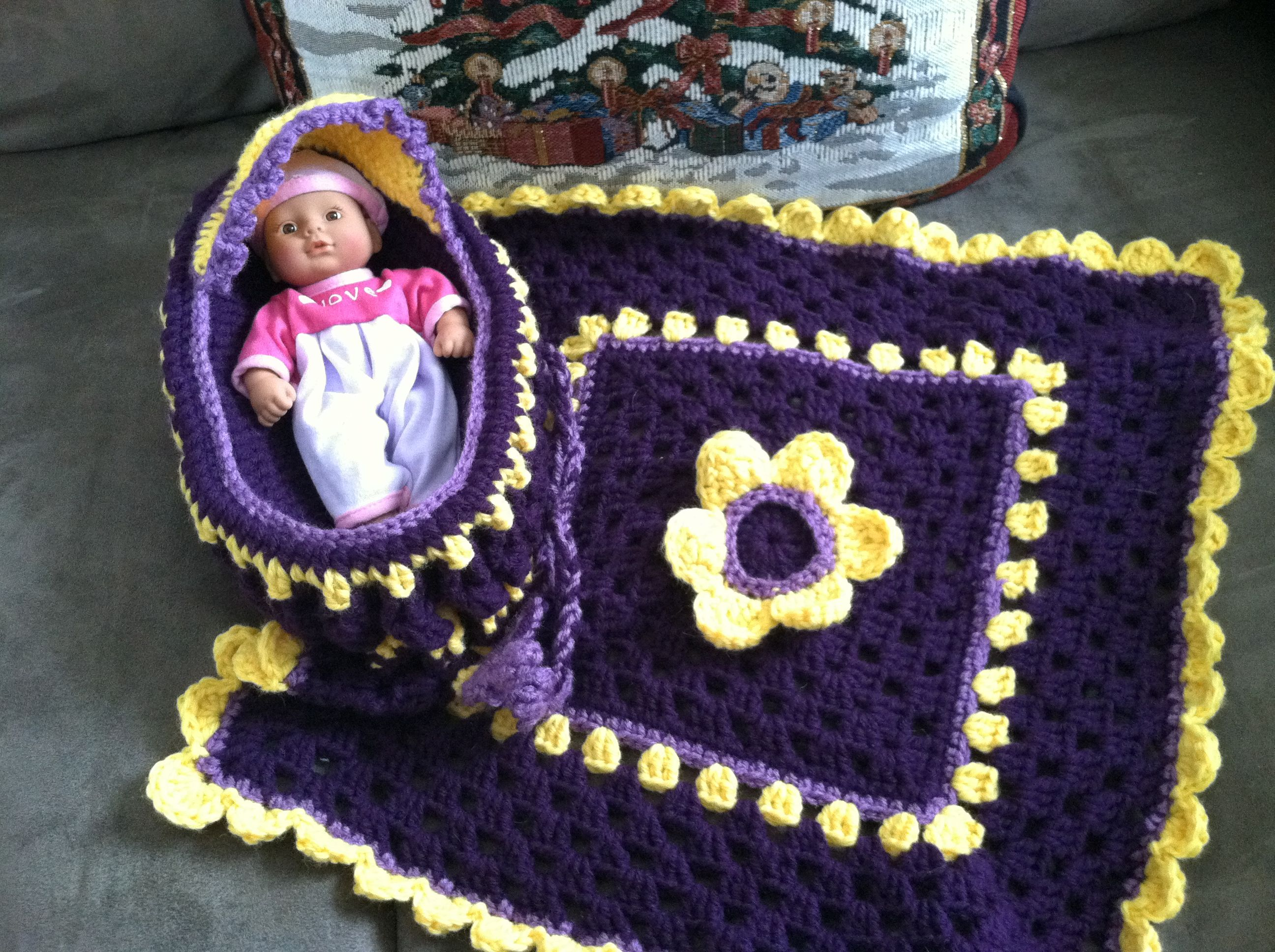 Crocheted baby doll cradle purse in Purple and Yellow. | My Victoria ...