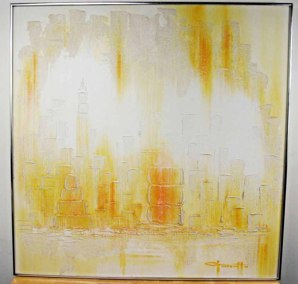 Mid Century Modern Cityscape Giarraffi Signed Original Oil ...