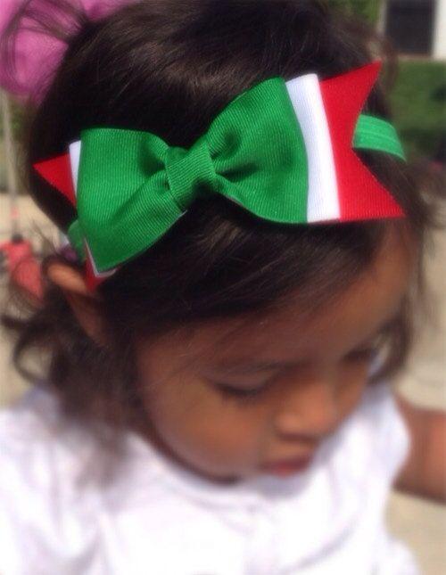 Green Red And White Grosgrain Hair Bow Toddler Girl
