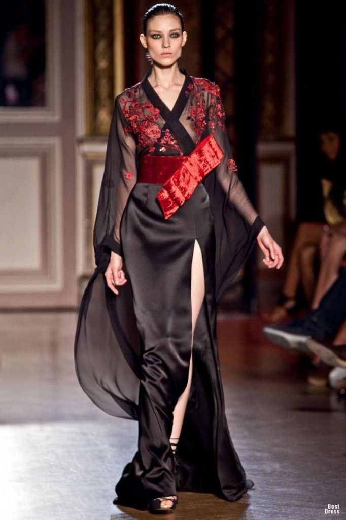 Zuhair Murad Houte Couture 2011 2012 Black Kimono Red Bow Geisha Inspired Fashion And