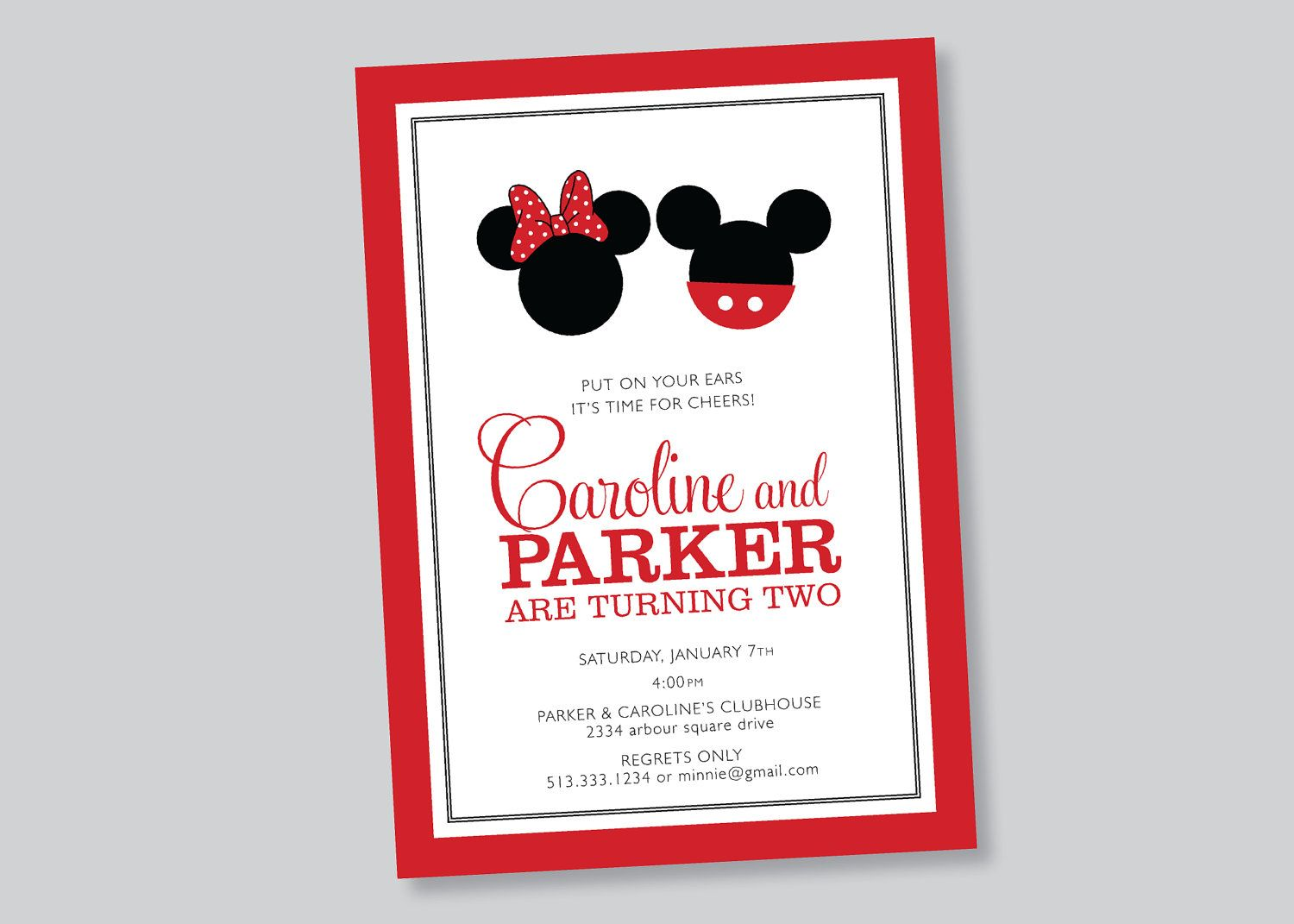 twin mickey minnie mouse birthday party invitation . custom ...