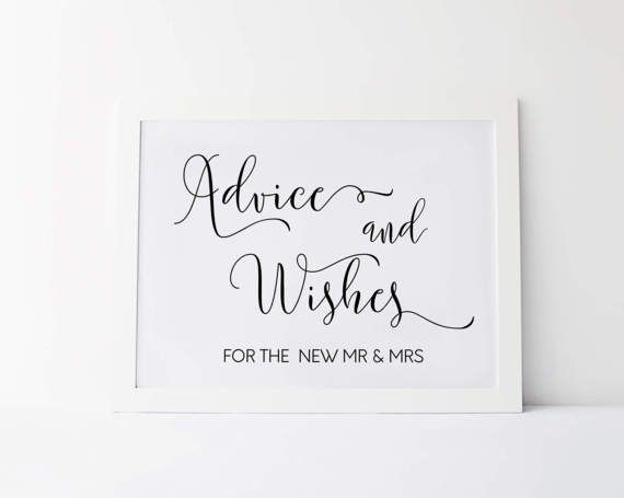 advice and wishes wedding signage advice and well wishes sign wedding signs