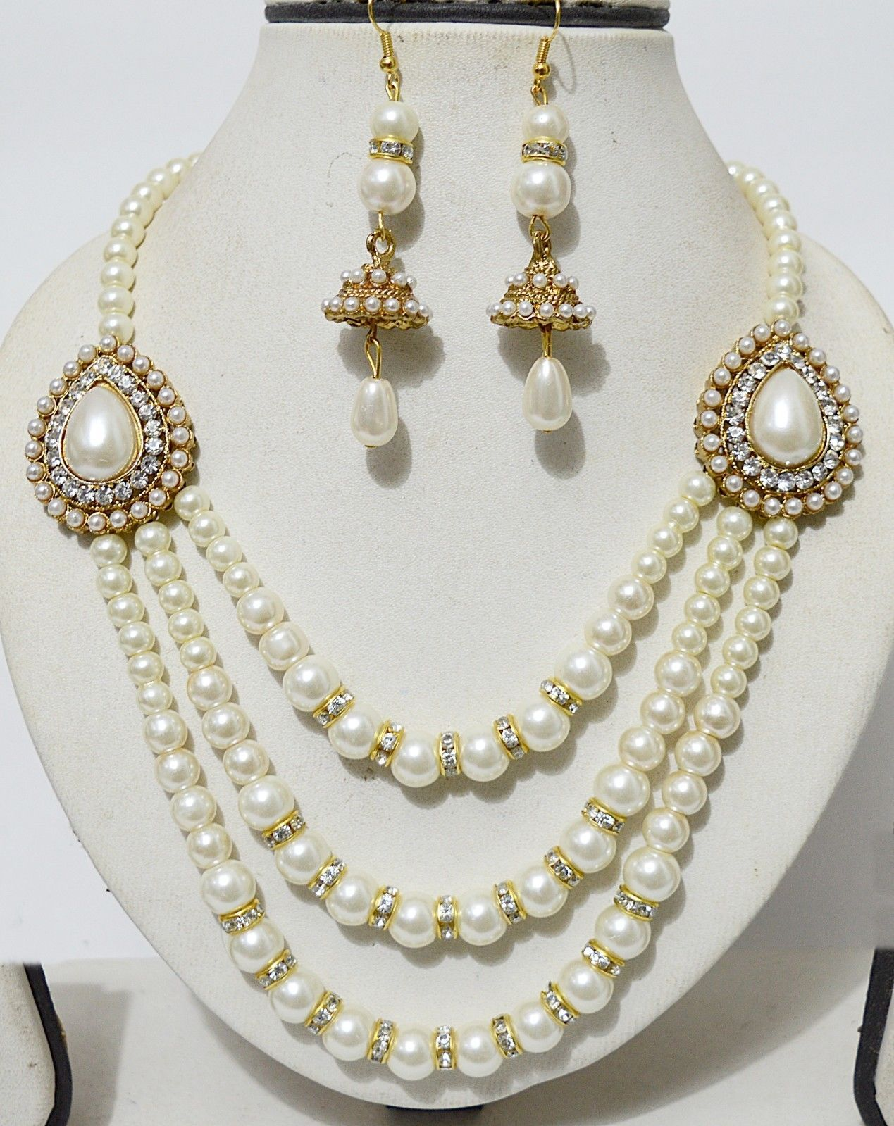 Designer indian gold plated stone kundan pearl necklace earring