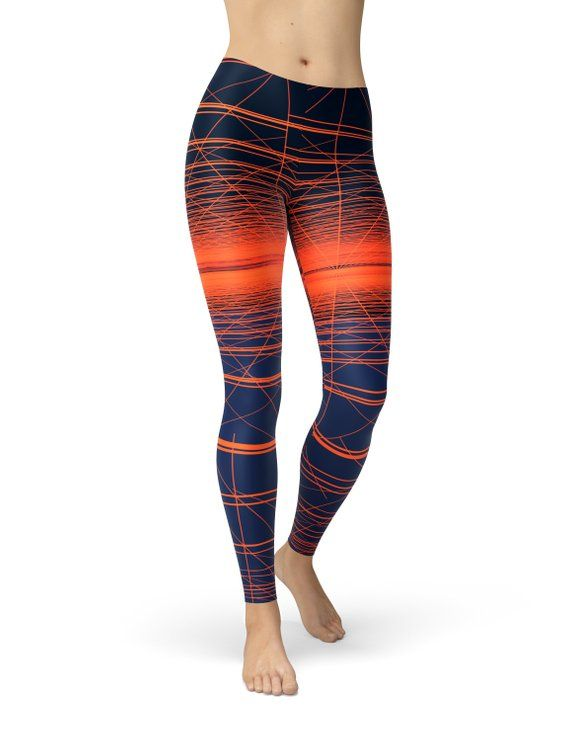 4975414f0ff Navy Blue and Orange Striped Workout Leggings for Women