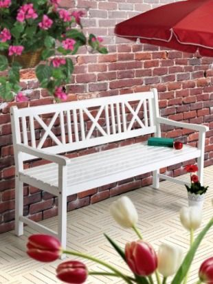 Extrem Gartenbank weiß AALBORG Sitzbank Holz 118cm 2-Sitzer Bank | Garten TZ01