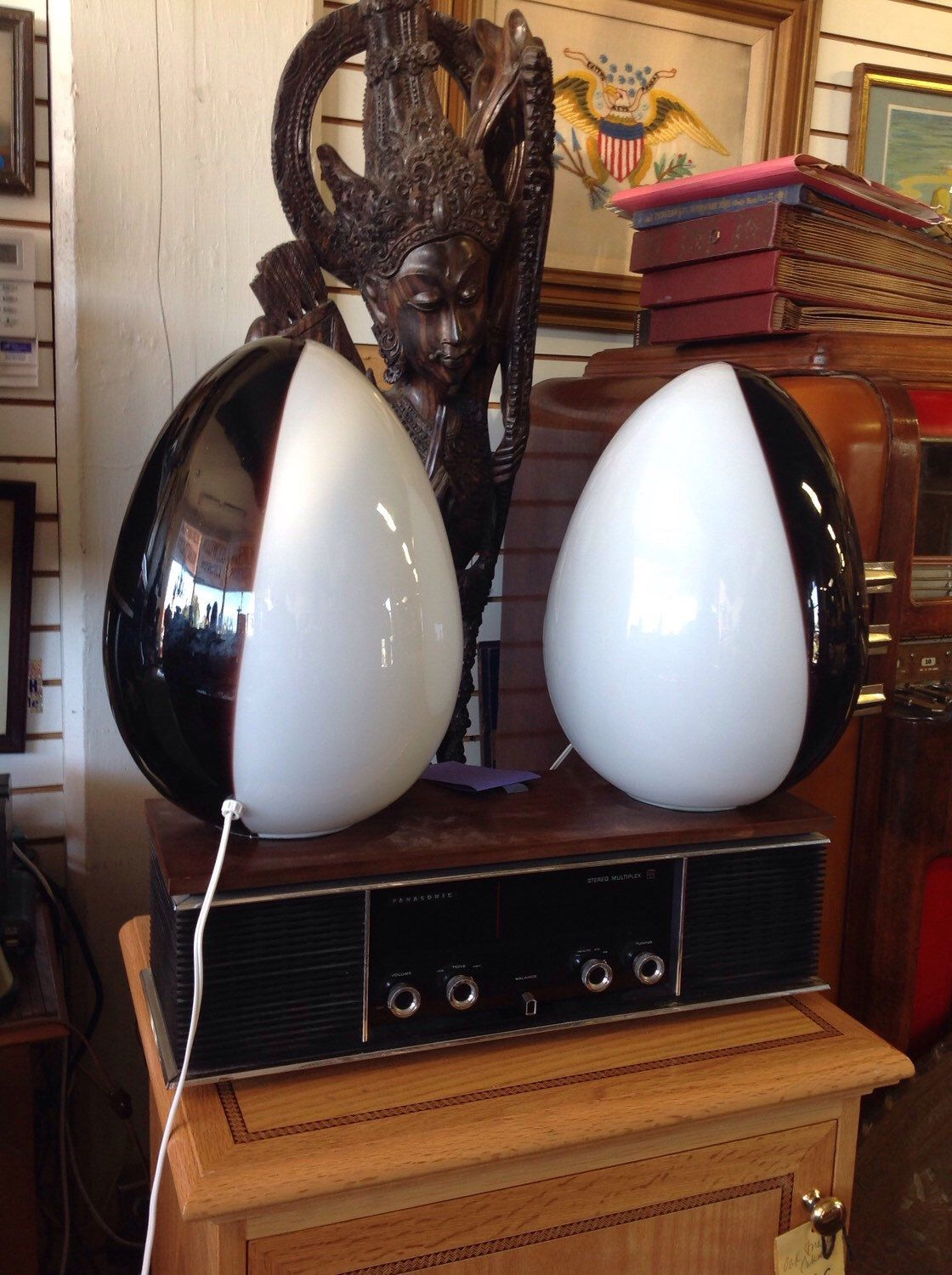 Mid Century Modern Italian Murano Art Glass Egg Lamps Vetri   San Jose By  ThriftCityFurniture On