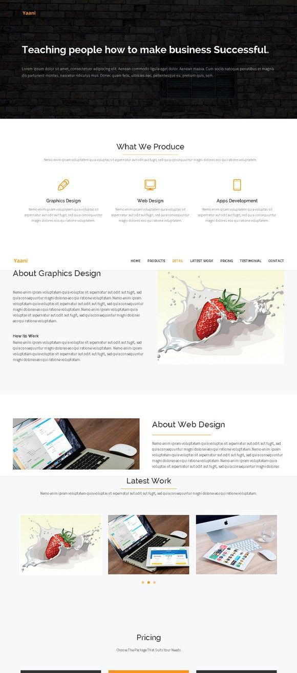 simple landing page html