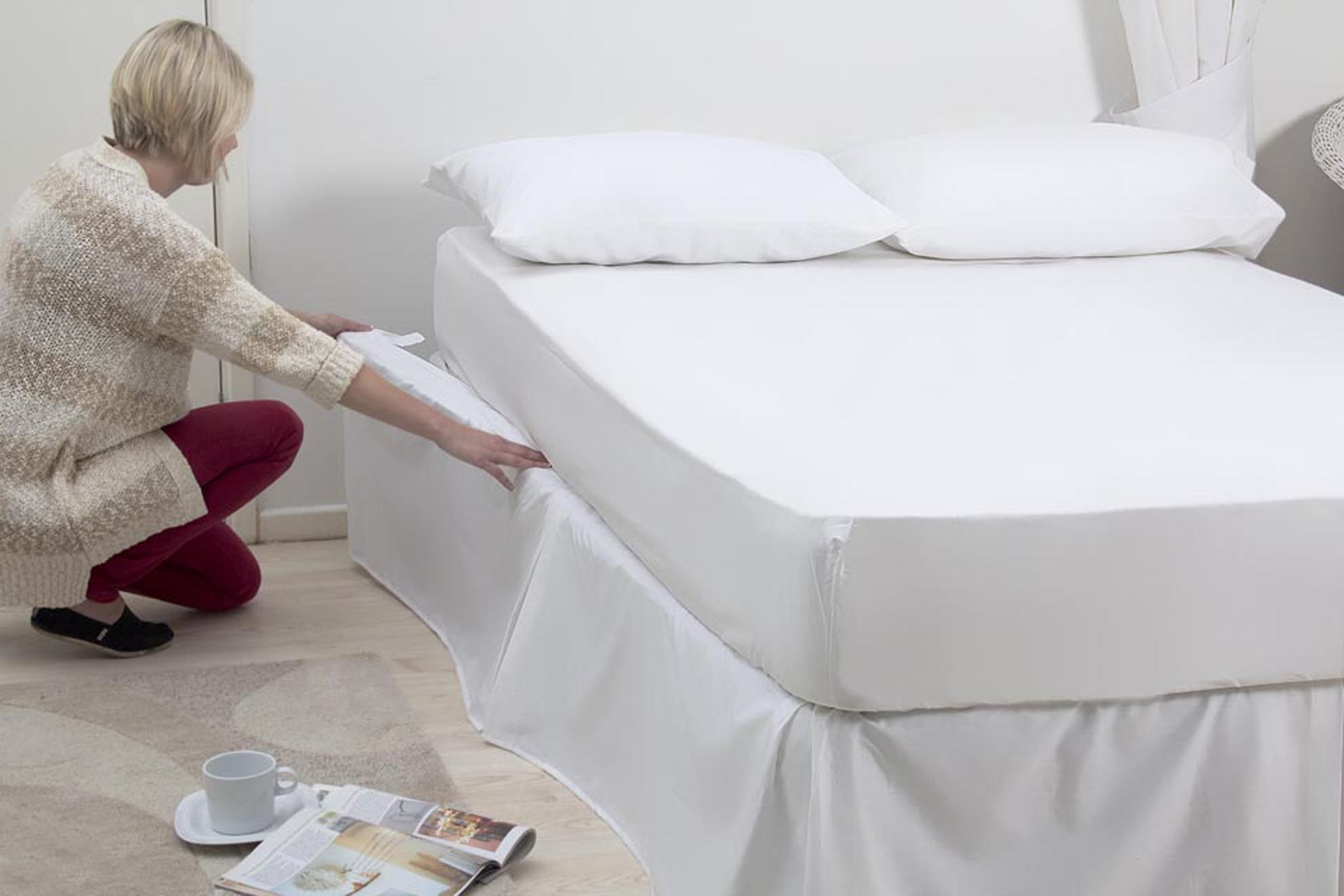 Great for adjustable beds a velcro attached valance that