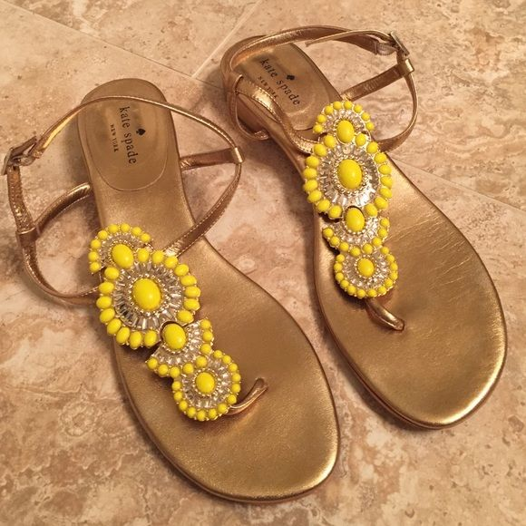 Gorgeous Kate Spade yellow jeweled sandals! These shoes are in GREAT condition!!! Except the visible wear on the bottom. They can be dressed up or down. Pretty pretty pretty!! kate spade Shoes Sandals