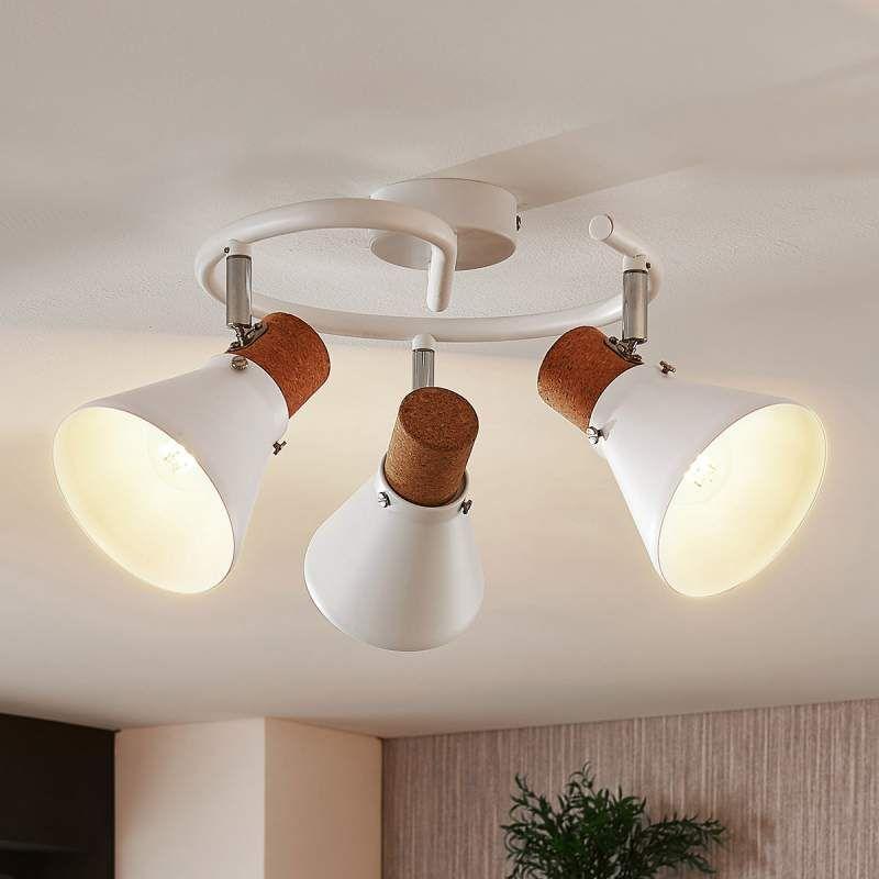 Deckenlampe Silva Mit Korkdekor 3 Flammig Rund Von Lampenwelt Com Deckenlampe Lampen Leuchtstoffrohre