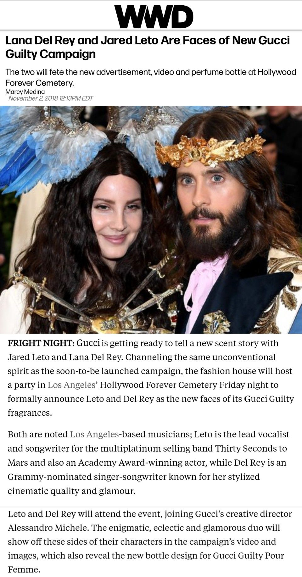 Lana Del Rey And Jared Leto Are The New Faces Of Gucci Guilty Fragrance Ldr News Lana Del Rey News Lana Del Rey Jared Leto
