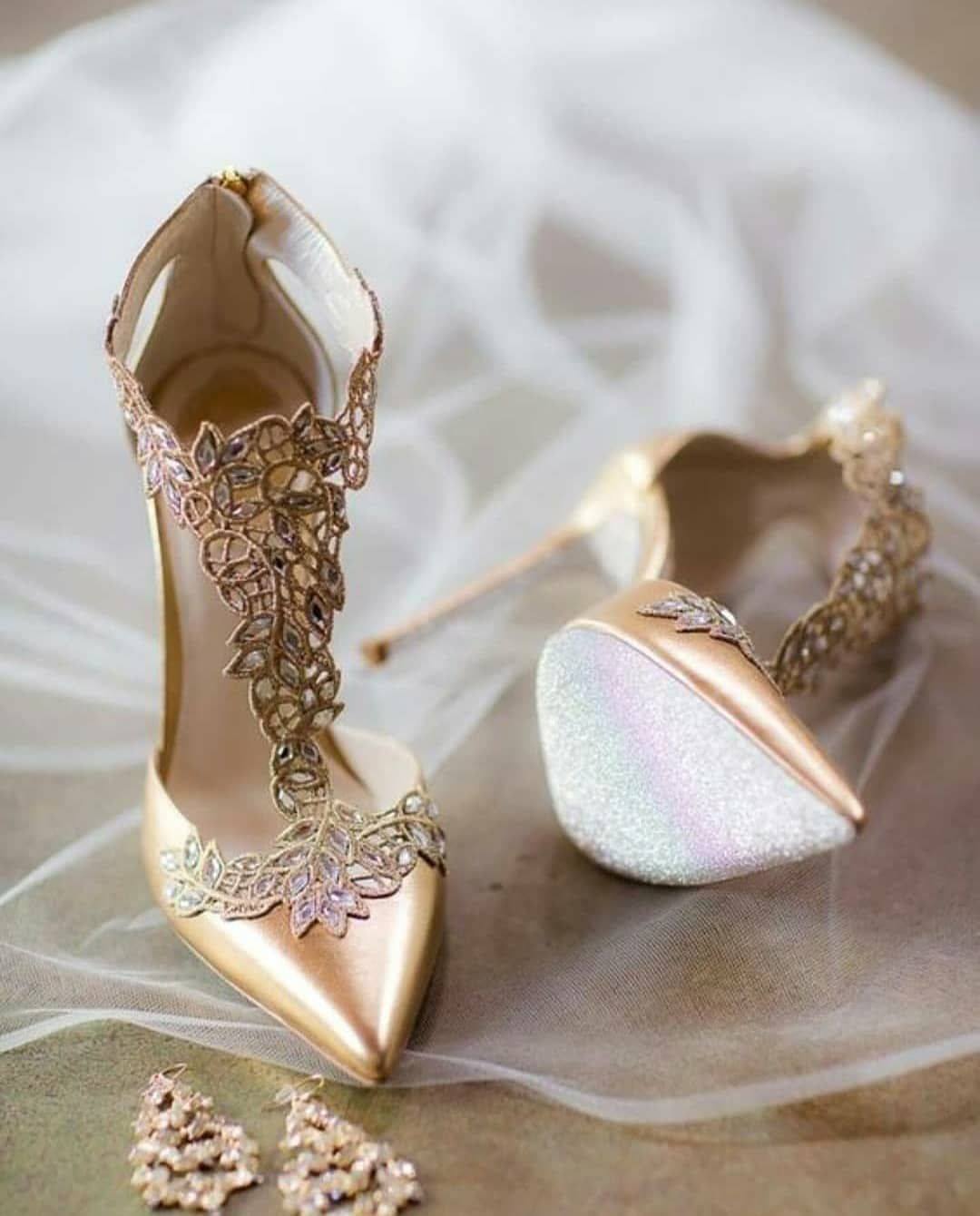 Stunning gold T-bar bridal heels