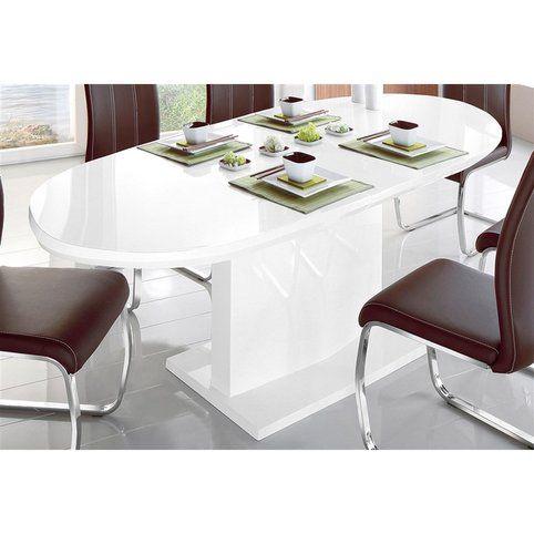 616a105cb6c21b Table salle à manger ovale avec allonge 8 à 10 personnes - Blanc- Vue 1