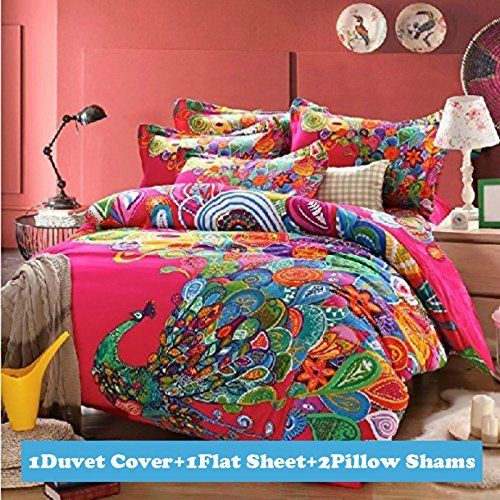 Ttmall Full Queen Size 100 Cotton 3d Bohemian Boho Style Colorful Peacock Feather Animal Prints Duvet Cover Boho Bedding Sets Queen Bedding Sets Bedding Sets