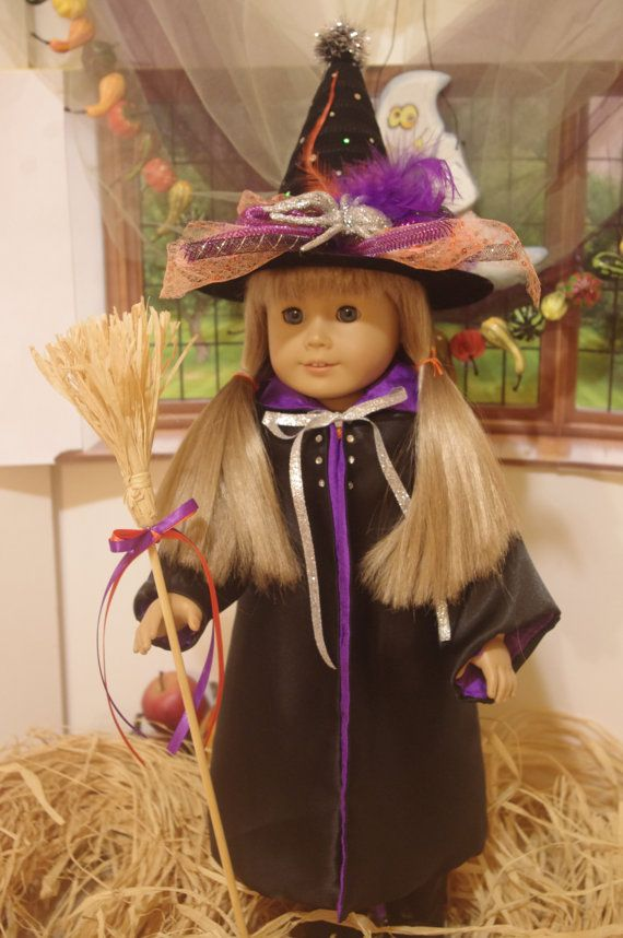 18 Inch Doll Clothes Purple Striped Witch Halloween Costume handmade by Jane Ellen to fit 18 inch dolls