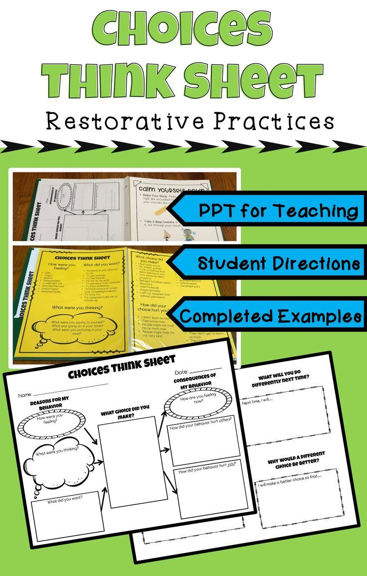This a Restorative Practices behavior and choices reflection sheet for students to use when they have broken a rule/failed to meet a school expectation. It is particularly powerful when someone else was harmed due to their actions. Includes: think sheet, editable PPT for teaching its use to students, and scaffolding instructions and examples to help students complete it independently.
