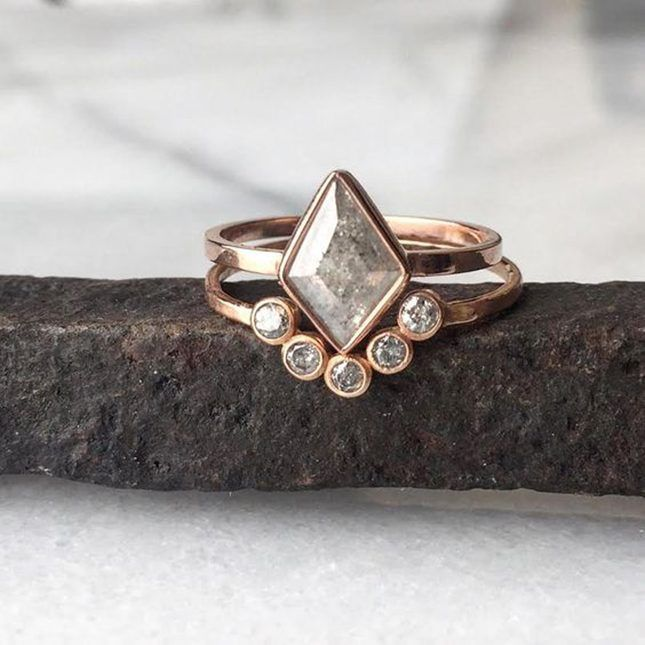 15 Unique Fitted Engagement Ring and Wedding Band Combos That Just
