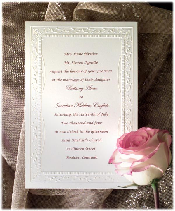 Formal Wedding Invitation Wording Etiquette Parte Two – Sample Wedding Invitation Format