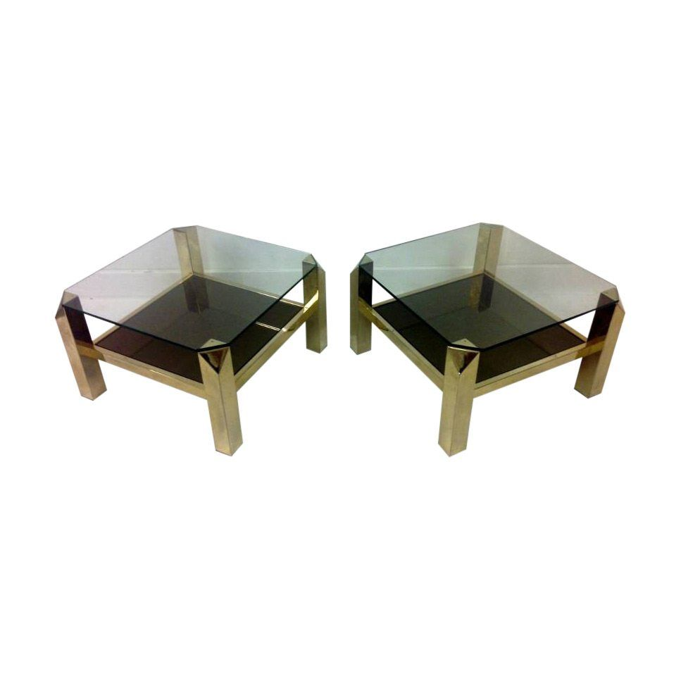 Belgian Pair of Gold Plated Side Tables