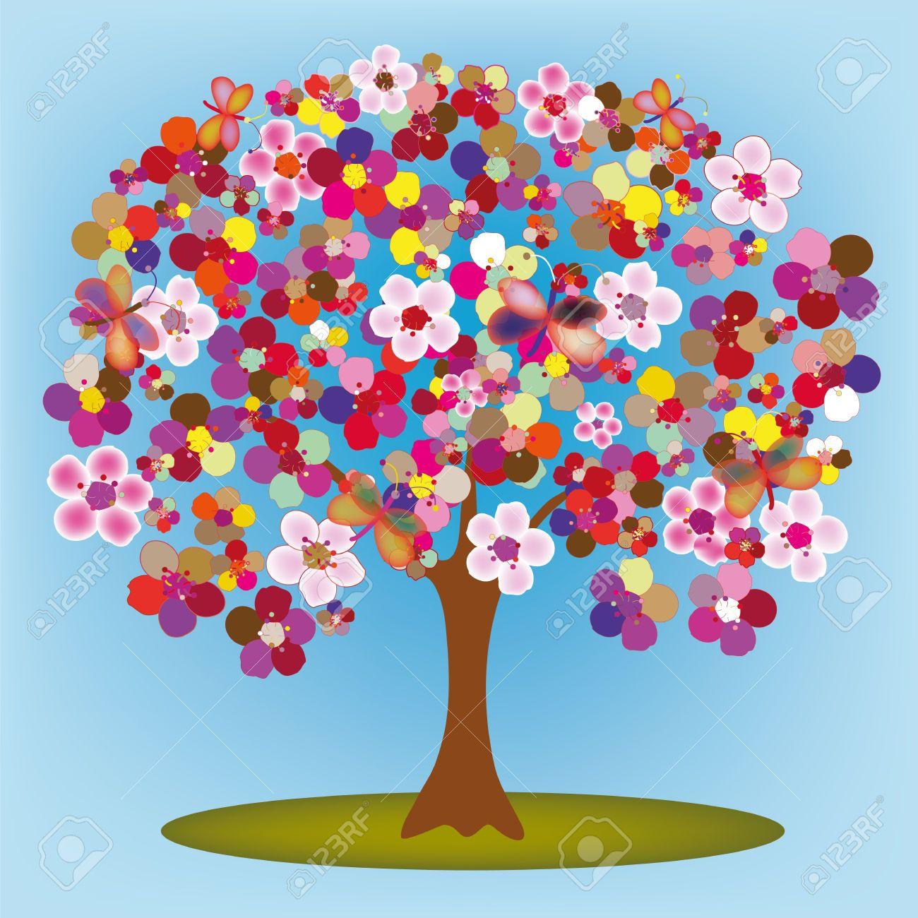 Rbol Floreciente De Dibujos Animados Con Flores Y Mariposas De Colores Abstractos Arte De La Flor De Loto Arboles De Colores Mariposas De Colores