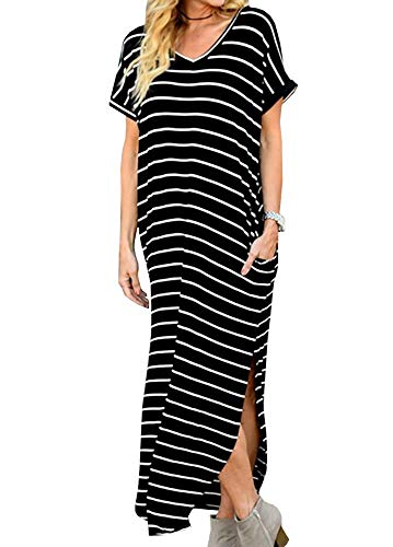 Boho Womens Loose V-Neck Side Split Maix Dress Short Sleeve Long Dress Sundress