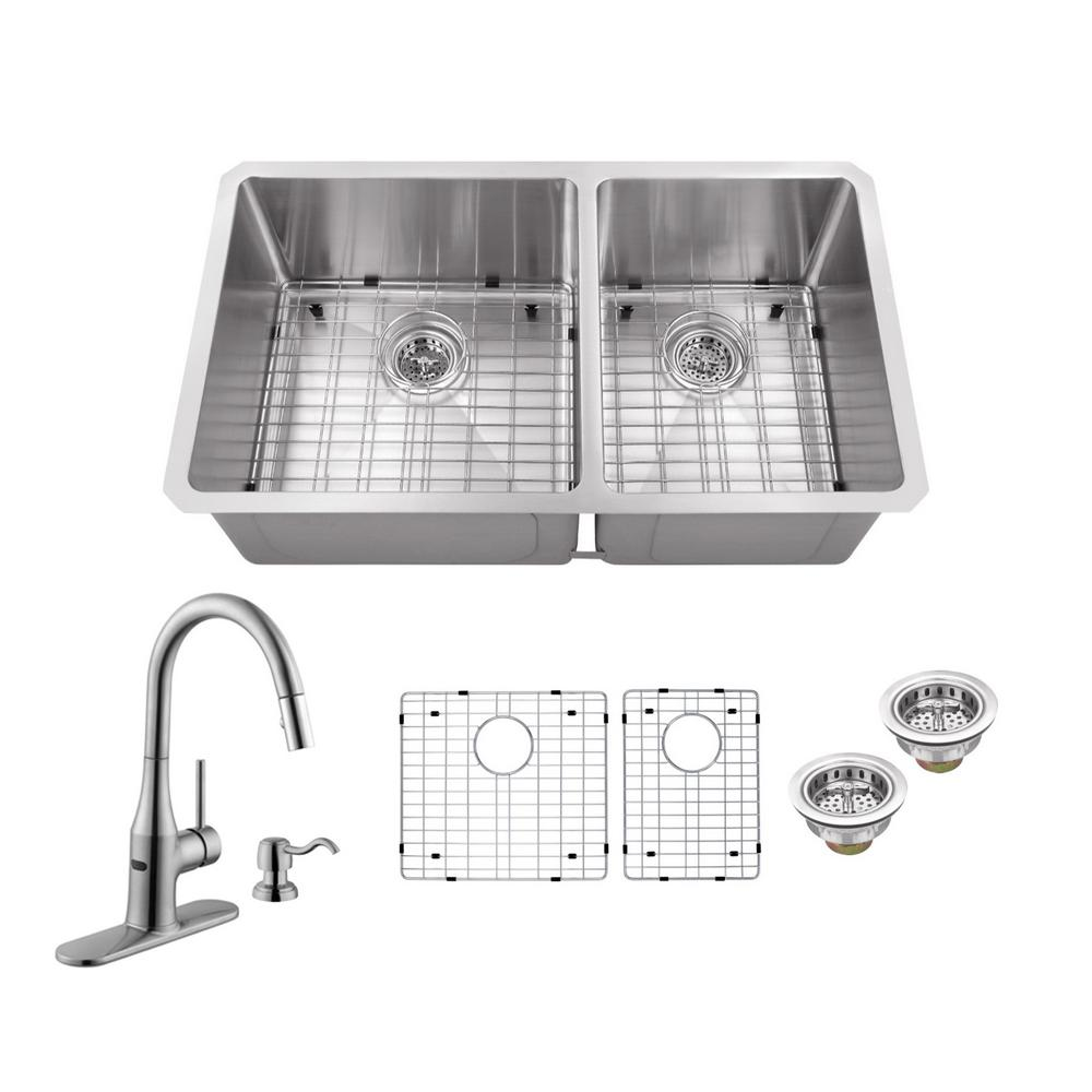 Schon All In One Undermount Stainless Steel 32 In Double Bowl Kitchen Sink With Faucet Sc367065cr Double Bowl Kitchen Sink Stainless Sink Pull Out Kitchen Faucet