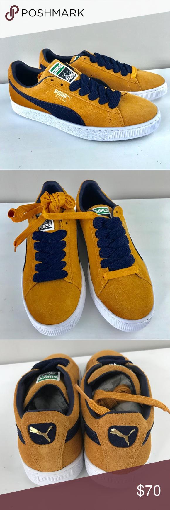 size 40 462f0 dccfb Puma NEW Suede Super gold blue lo rise sneakers Puma suede ...