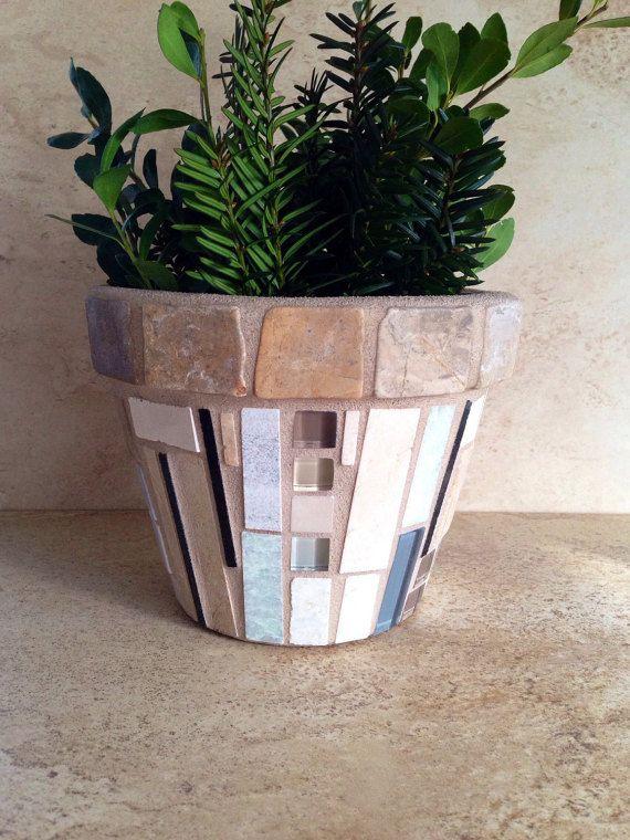 Mosaic Flower Pot Rustic Indoor Planter Kitchen Herb Pot Mosaic Flower Pots Flower Pot Rustic Flower Pots