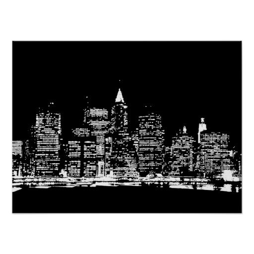 Black white new york city pop art poster