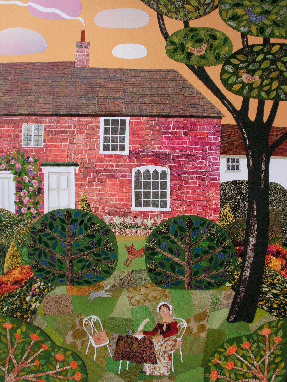 Summer Evening Chawton Cottage Garden Cut Paper Collage