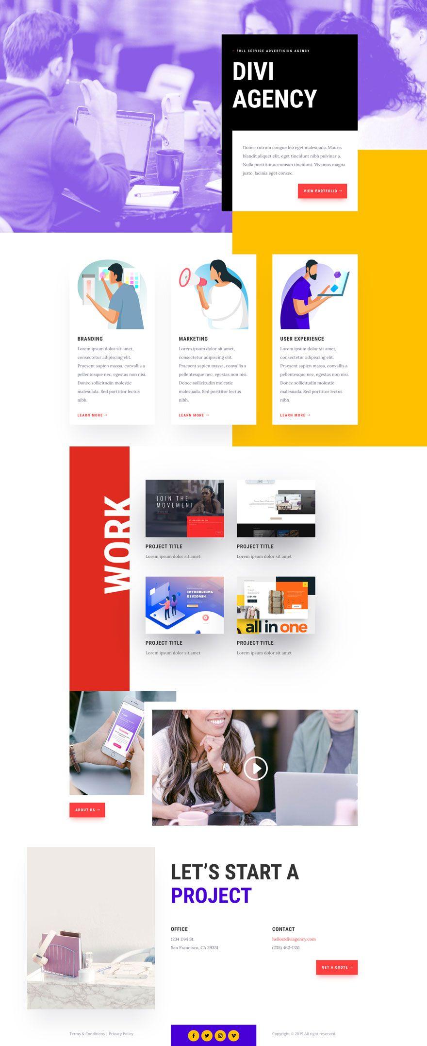 Get A Free Advertising Agency Layout Pack For Divi Agency Website Design Marketing Agency Website Creative Agency Website