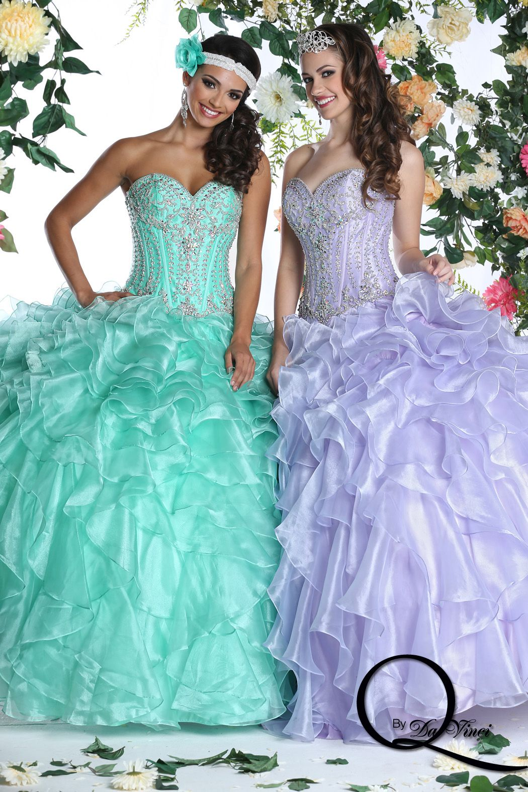 Fashionably chic Q by Davinci style 80266 featuring hermoso Shimmer Organza in colors Mint, Lilac!! #Quinceanera #Misquince #XV #Dress