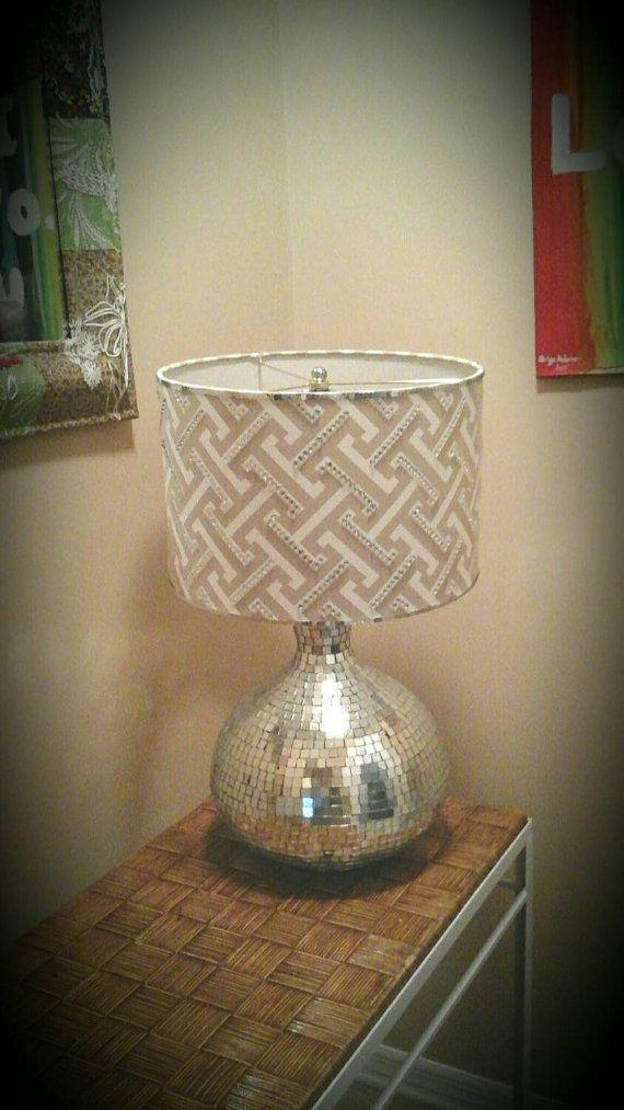 Silver lamp shade large graywhitesilvergeometric drum lamp shade clearance gray and white geometric fabric drum lamp by ohtheshade aloadofball Images