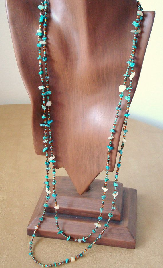 Turquoise, calcite and metallic bead wrappable necklace – made to order