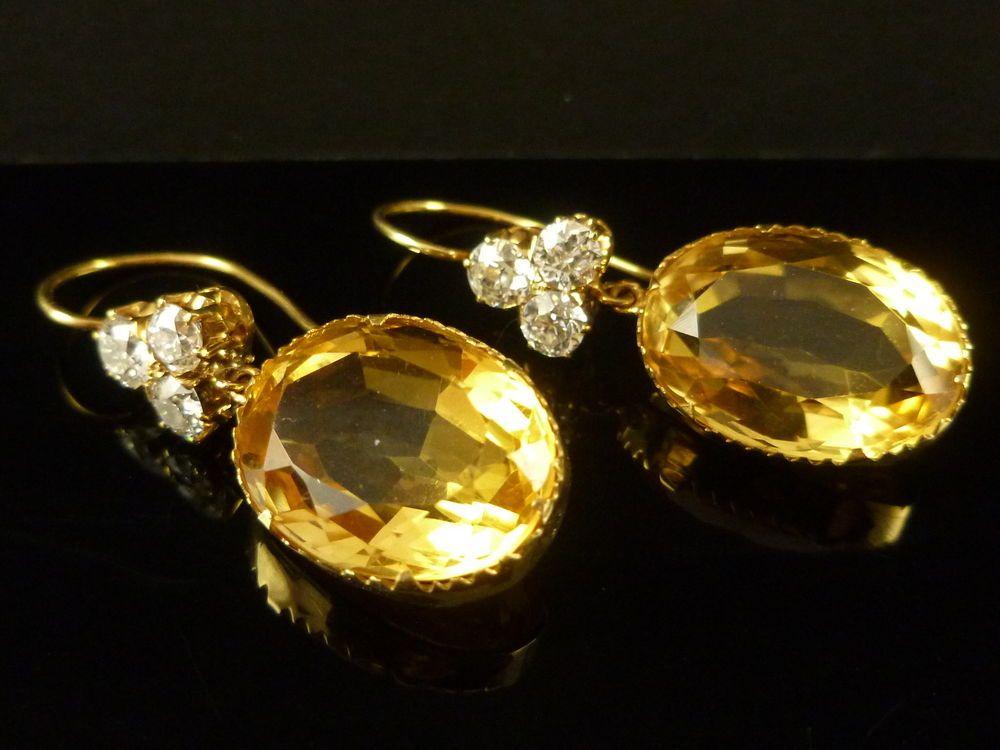 Antique Victorian Citrine Diamond Earrings 18ct Yellow Gold