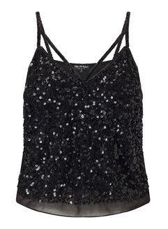 Black Embellished Strap Camisole Top