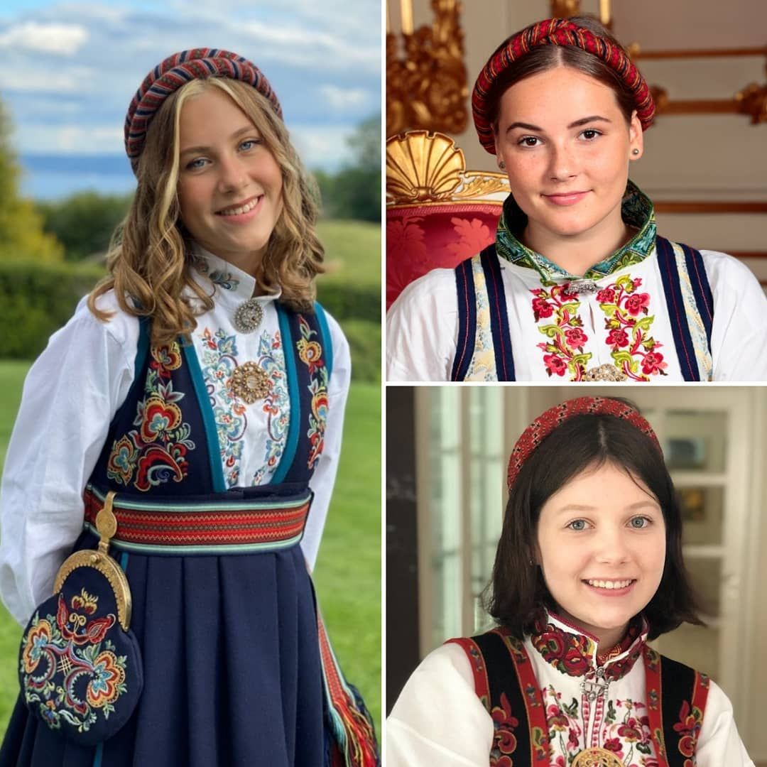 Det Norske Kongehus On Instagram Leah Isadora Behn Princess Ingrid Alexandra And Maud Angelica Behn Wearing Bunad And Harvippe I 2020 Norge