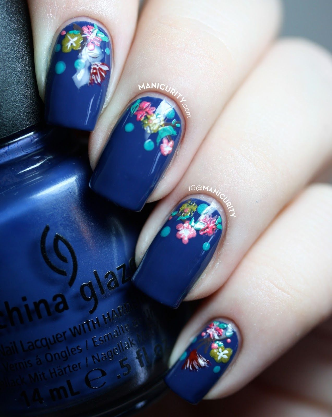 Manicurity Teeny Tiny Flowery Half Moon Nails Small Freehand