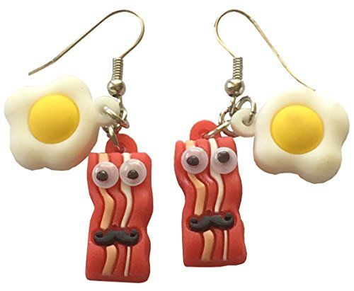 Bacon and Eggs Googly Eyes and Mustache Dangle Earrings Breakfast Food #2