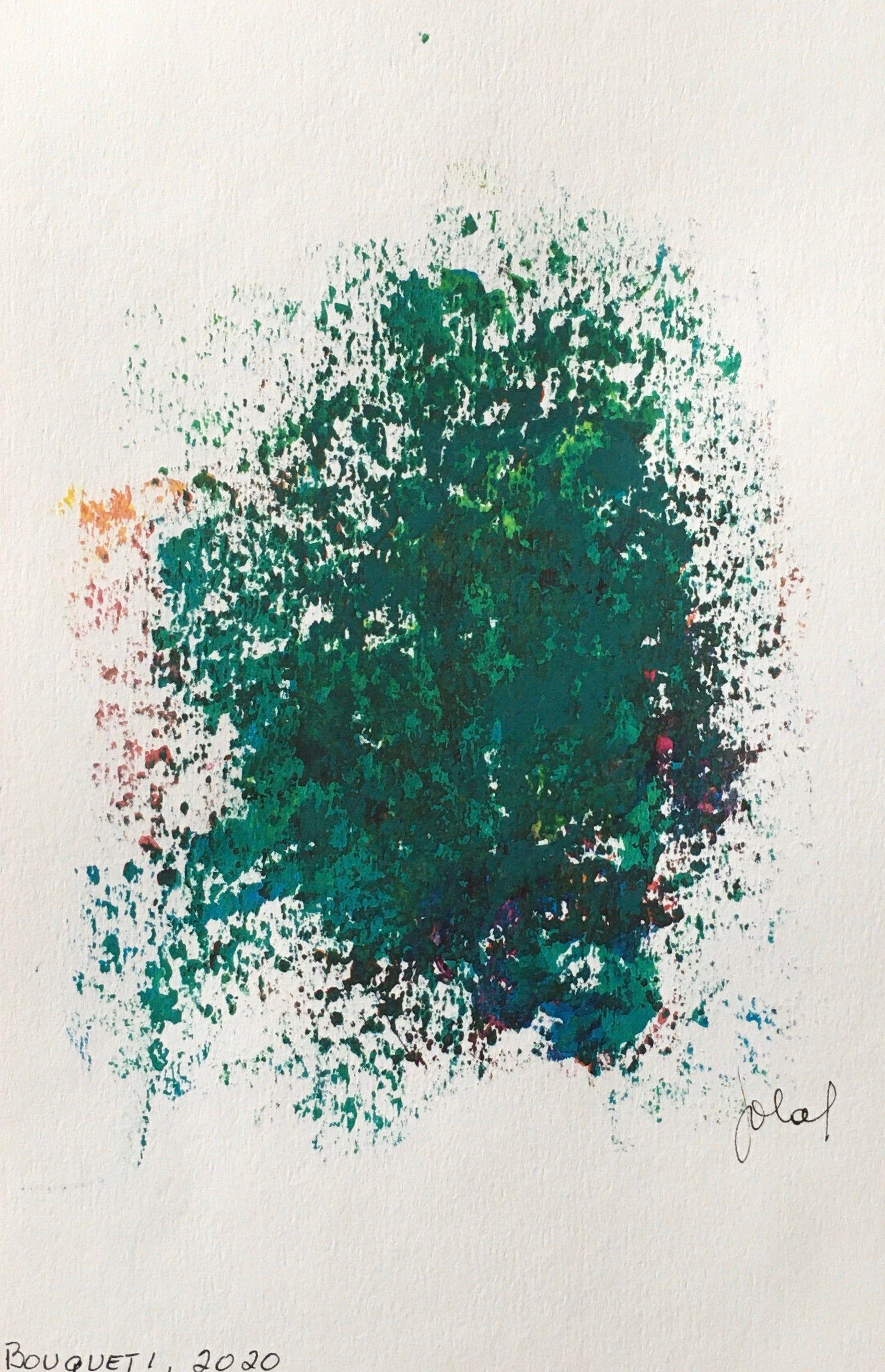 Acrylique Sur Papier Oeuvre Originale Bouquet Fleur Peinture
