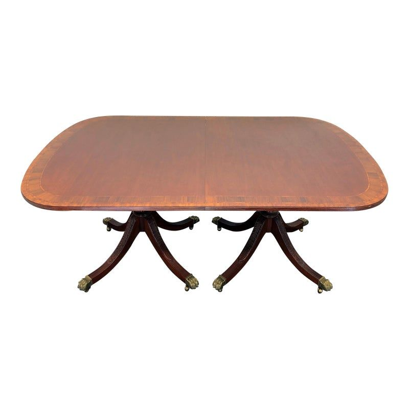 Councill Craftsmen Banded Mahogany Double Pedestal Dining Table
