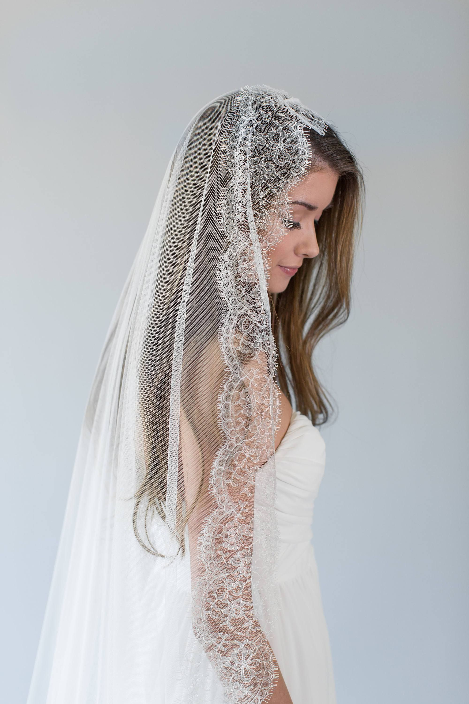 Lace chapel mantilla wedding veil abella mantilla veil