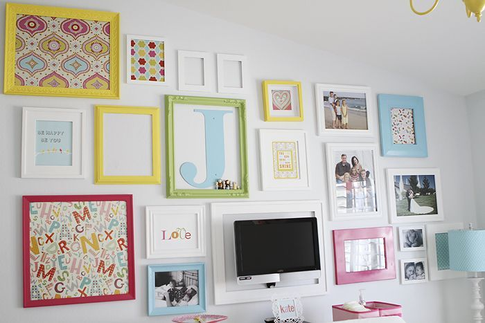 gallery wall ideas for around TV canvas and frames - Google Search ...