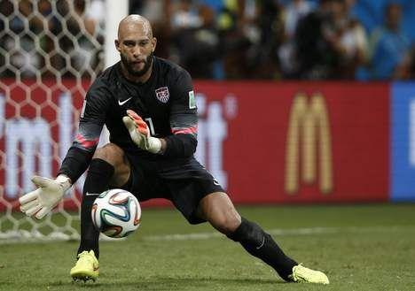 """Obama: """"Tim, je zal je baard moeten afscheren om niet herkend te worden"""" - Tim Howard - WK voetbal - De Morgen (01.07.14)"""