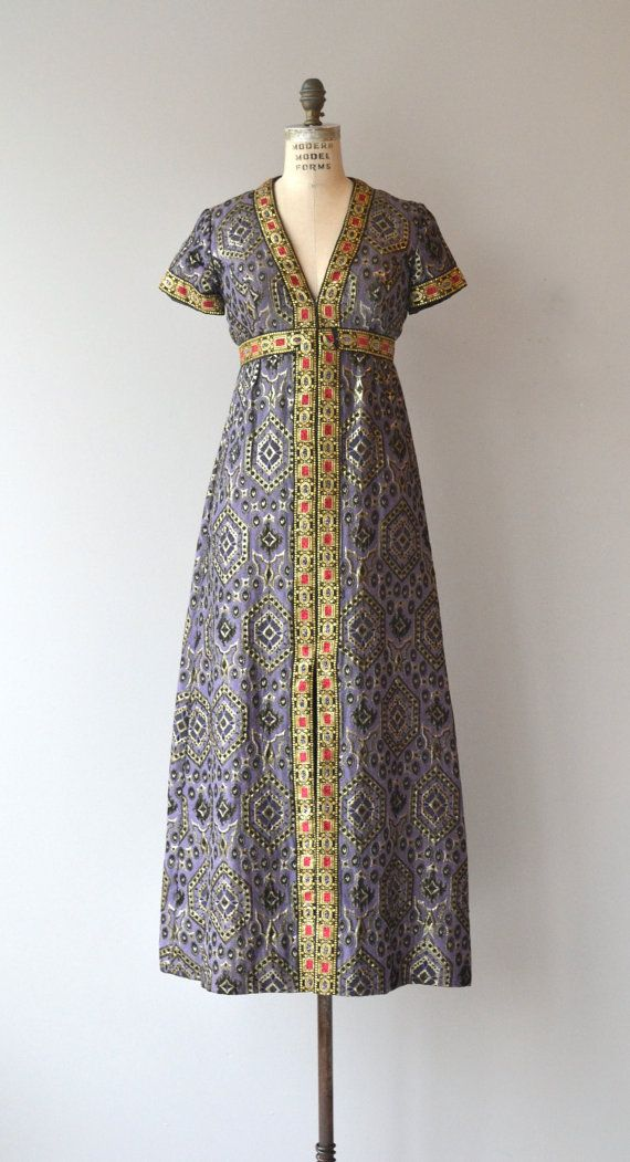 3e4566f56639 Vintage late 1960s regal silk brocade maxi dress with intermingling  patterns, V neckline, short sleeves, brocade ribbon trim, empire waist and  back