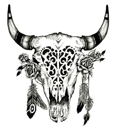 Pin By Nikki Mo On Home Sweet Home Bull Skull Tattoos Skull Tattoos Bull Skulls