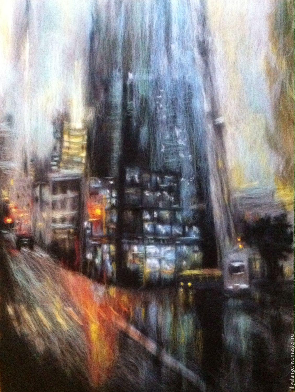 """Купить Картина из шерсти """" город"""" - темно-серый, городской ...  Дождливый Город Картина"""